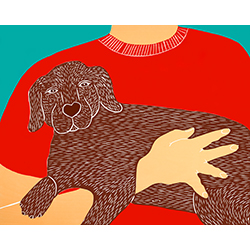 Dogs Can Heal a Broken Heart - Original Woodcut