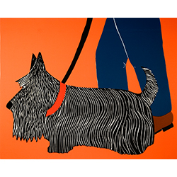 Dogs Can Heel-Scottie - Original Woodcut