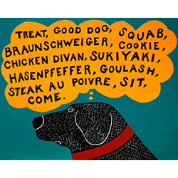 Dogs Can Only Learn a Few Words - Original Woodcut