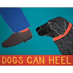 Dogs Can Heel - Original Woodcut