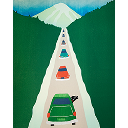 Driving to the Lodge - Original Woodcut