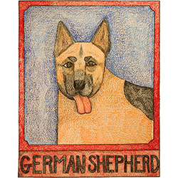 German Shepherd - Crayon Print