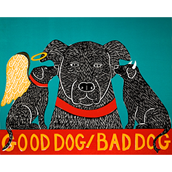 Good Dog/Bad Dog - Original Woodcut