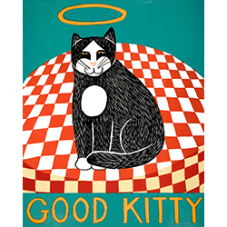 Good Kitty - Original Woodcut