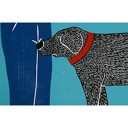 Greeting Visitors-Bad Dog - Medium Woodcut