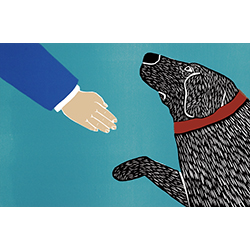 Greeting Visitors-Good Dog - Medium Woodcut