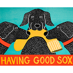 Having Good Sox - Original Woodcut
