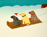Holiday Sled Dogs - Giclee