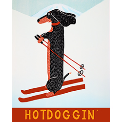 Hotdoggin' - Original Woodcut