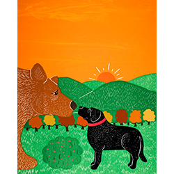 I Meet a Bear-Autumn - Giclee Print