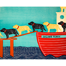Island Ferry - Original Woodcut