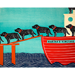 Island Ferry-Martha's Vineyard - Original Woodcut