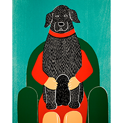 Lap Dog - Original Woodcut