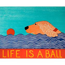 Life is a Ball-Golden - Original Woodcut