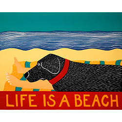 Life is a Beach - Original Woodcut