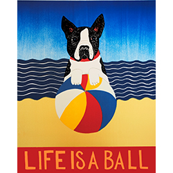 Life is a Ball-Boston Terrier - Original Woodcut
