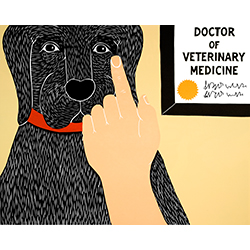 Listen to Your Vet - Original Woodcut