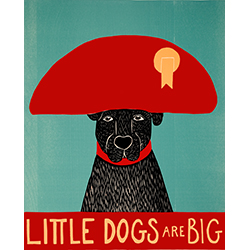 Little Dogs Are Big - Original Woodcut