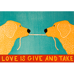 Love is Give and Take-Golden Retriever - Medium Woodcut