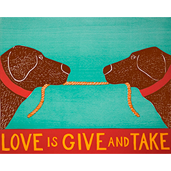 Love is Give and Take - Medium Woodcut