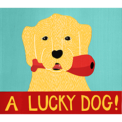 A Lucky Dog - Original Woodcut