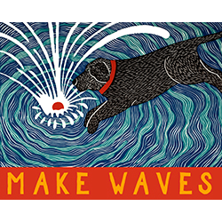 Make Waves - Original Woodcut