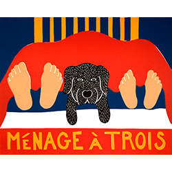 Menage a Trois - Original Woodcut