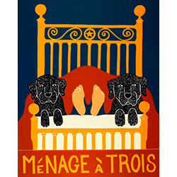 Menage a Trois II - Original Woodcut