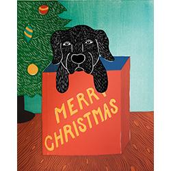 Merry Christmas (Puppy Present) - Original Woodcut