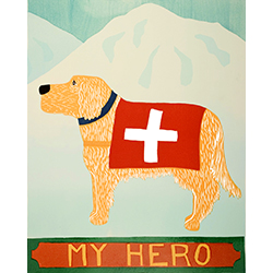 My Hero-Golden - Original Woodcut