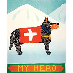 My Hero-Shepherd - Original Woodcut