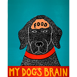 My Dog's Brain II-Food - Woodcut Print