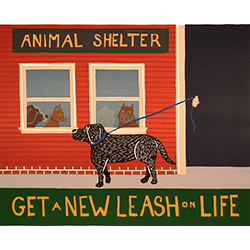 Get a New Leash on Life - Original Woodcut