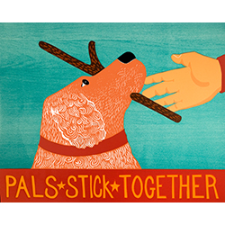 Pals Stick Together - Original Woodcut