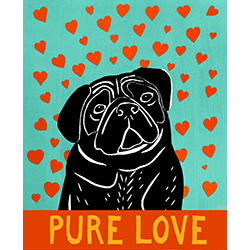 Pure Love-Black Pug - Giclee Print