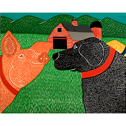 Sally Goes to the Farm - Original Woodcut