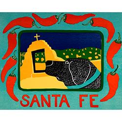 Santa Fe - Original Woodcut