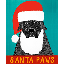 Santa Paws - Original Woodcut