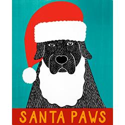 Santa Paws - Original Woodcut