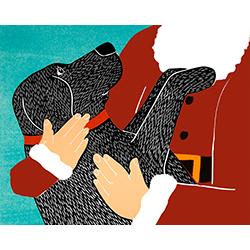 Santa Snuggles - Giclee Print