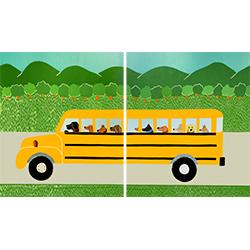 School Bus - Diptych Print