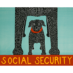 Social Security - Original Woodcut