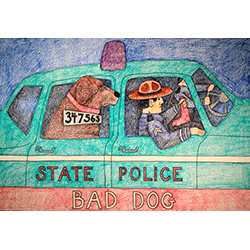 State Police-Bad Dog - Crayon Print