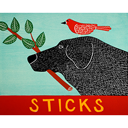Sticks - Original Woodcut