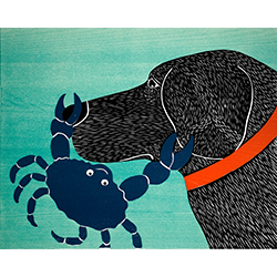 Crab-Blue - Original Woodcut