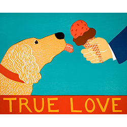 True Love-Golden Retriever - Original Woodcut