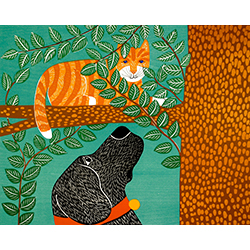 Up a Tree-Striped Cat - Original Woodcut