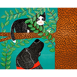 Up a Tree-Black Cat - Original Woodcut