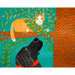 Up a Tree-Orange Cat - Original Woodcut