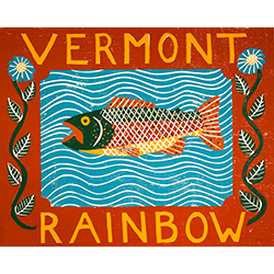 Vermont Rainbow Trout - Original Woodcut